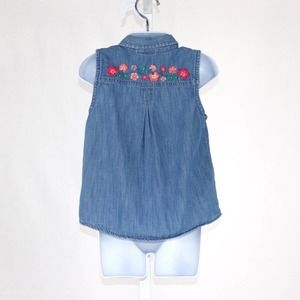 Gymboree Embroidered Tie Waist Shirt Chambray 5